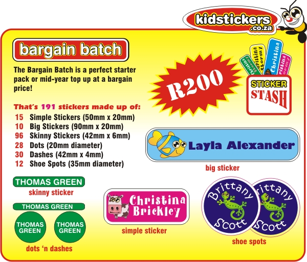 Kidstickers - Johannesburg - Bargain Batch Starter Pack 2014
